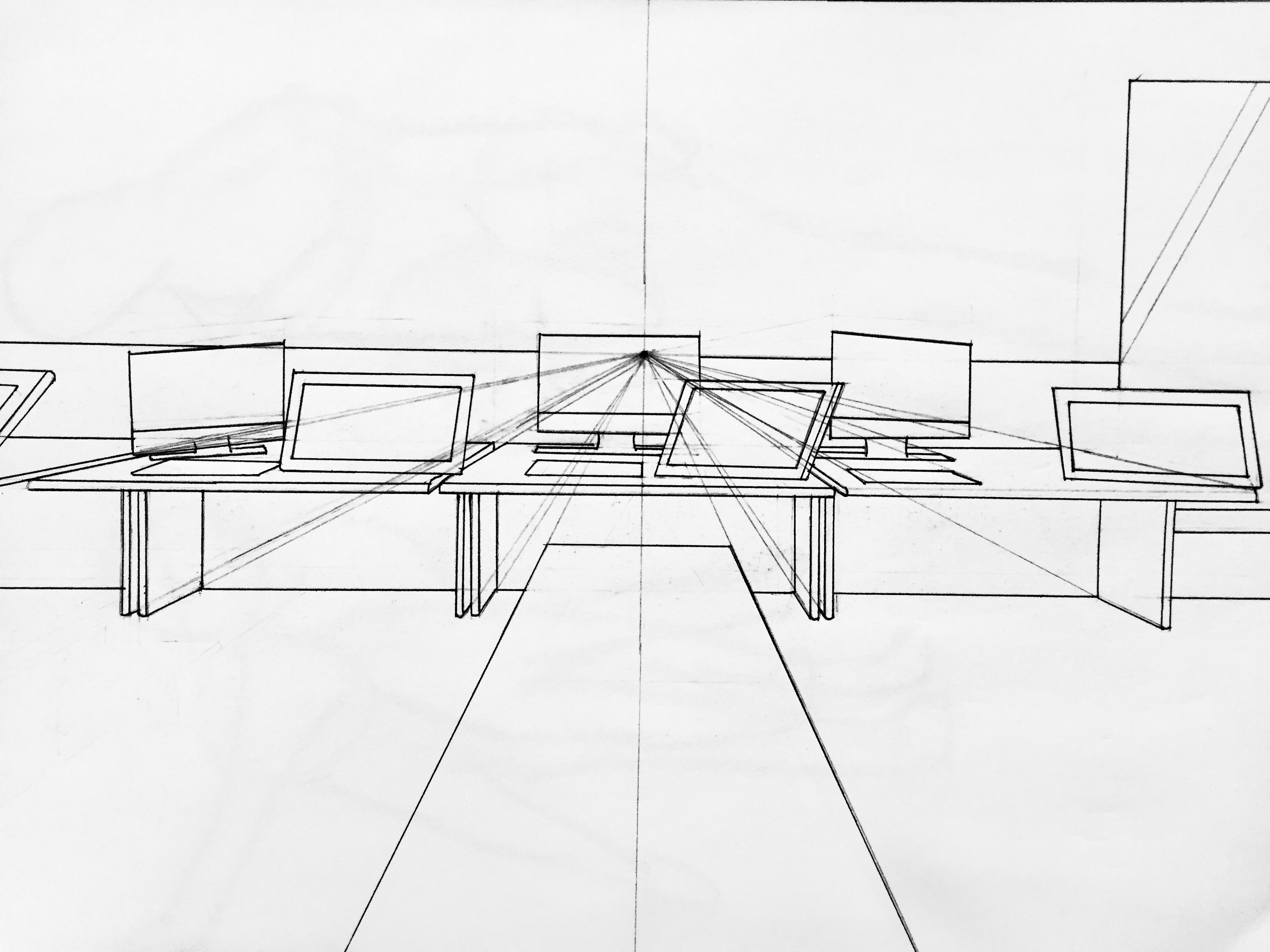A 1-point perspective drawing of the animation room, including table, desks, computers, and Wacoms.