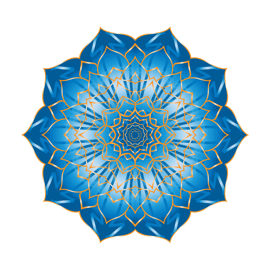 A flower mandala with orange lines and the inside being a blue gradient.