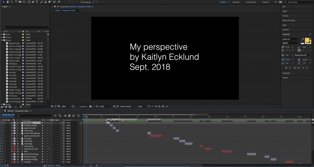 A screenshot of After Effects as I was making my perspective video