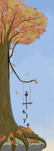 """Autumn tree with a swing on it, the name """"Katelyn"""" incorporated. It's blue hour."""