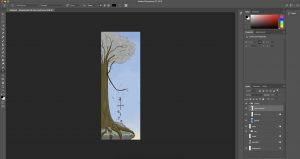 Photoshop interface with my name doodle project in it