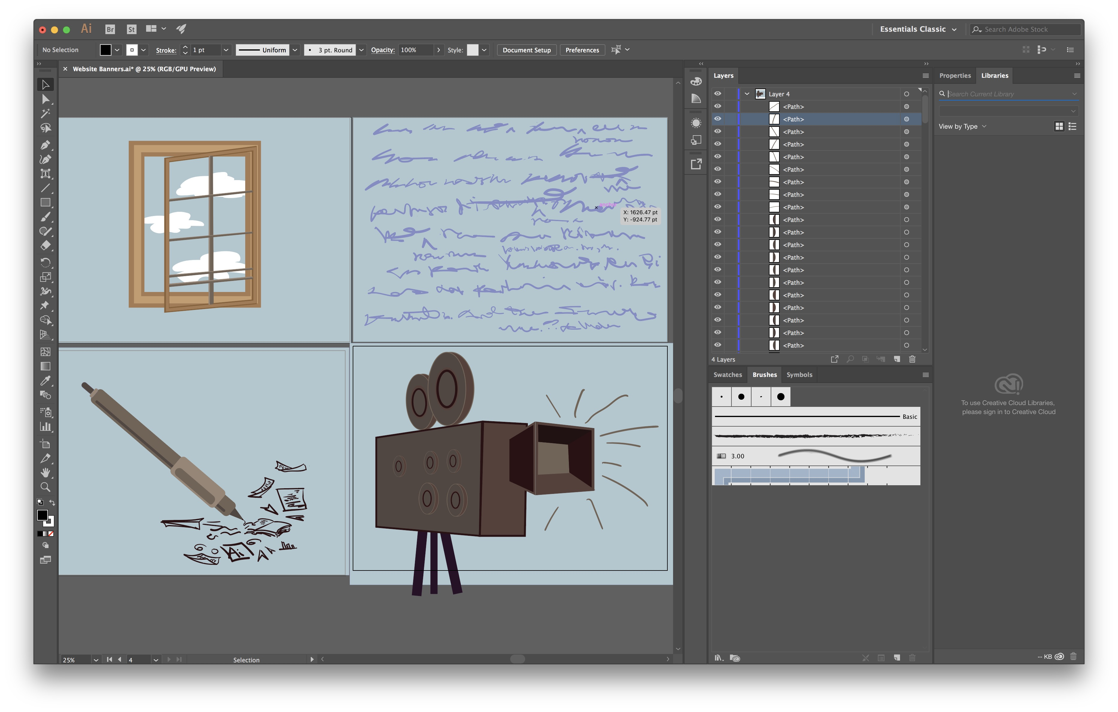 Screenshot of Adobe Illustrator interface, a behind the scenes look on the process of creating the Illustrations on this page.