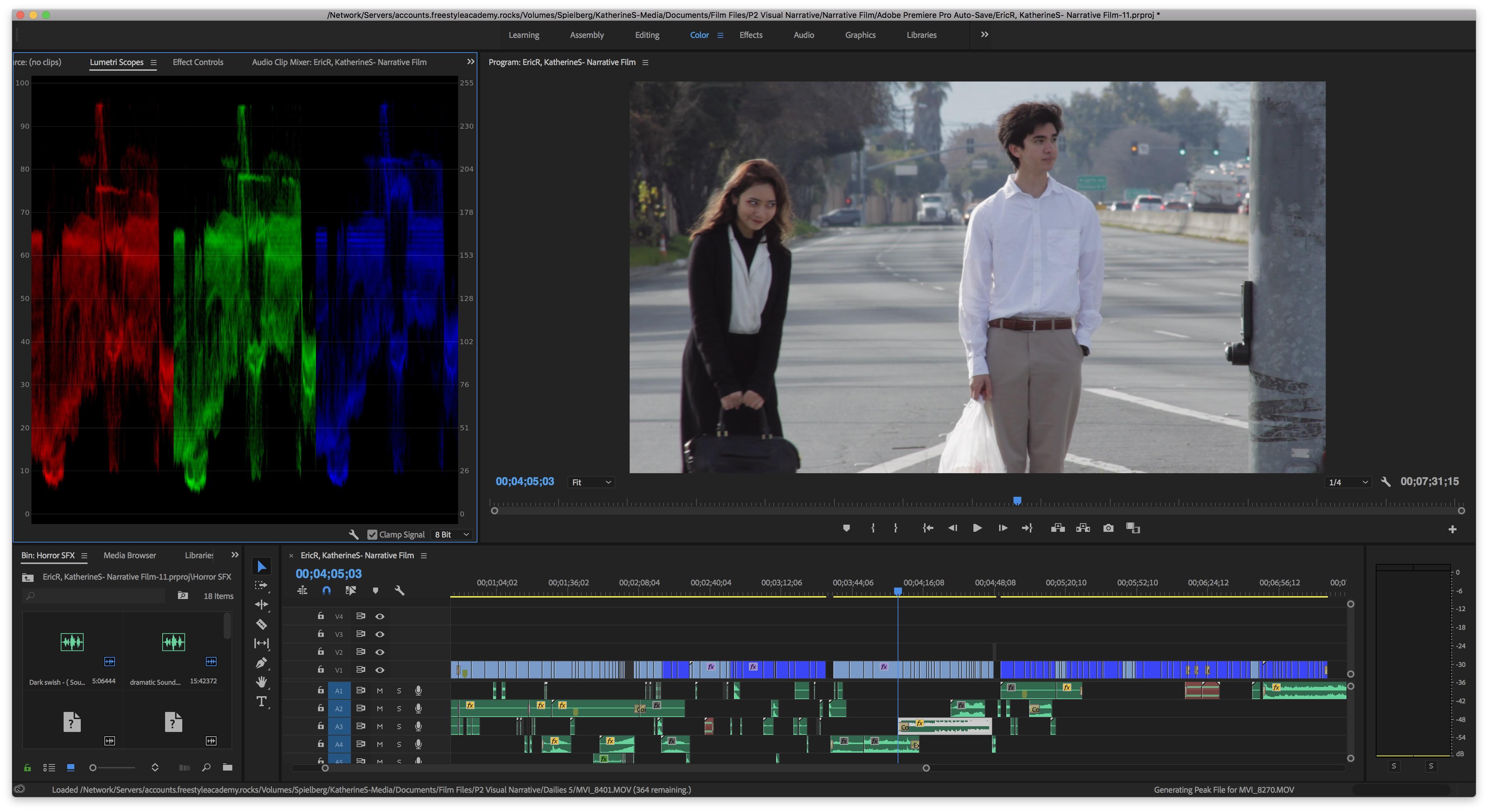 Behind the Scenes look at Adobe Premier interface.