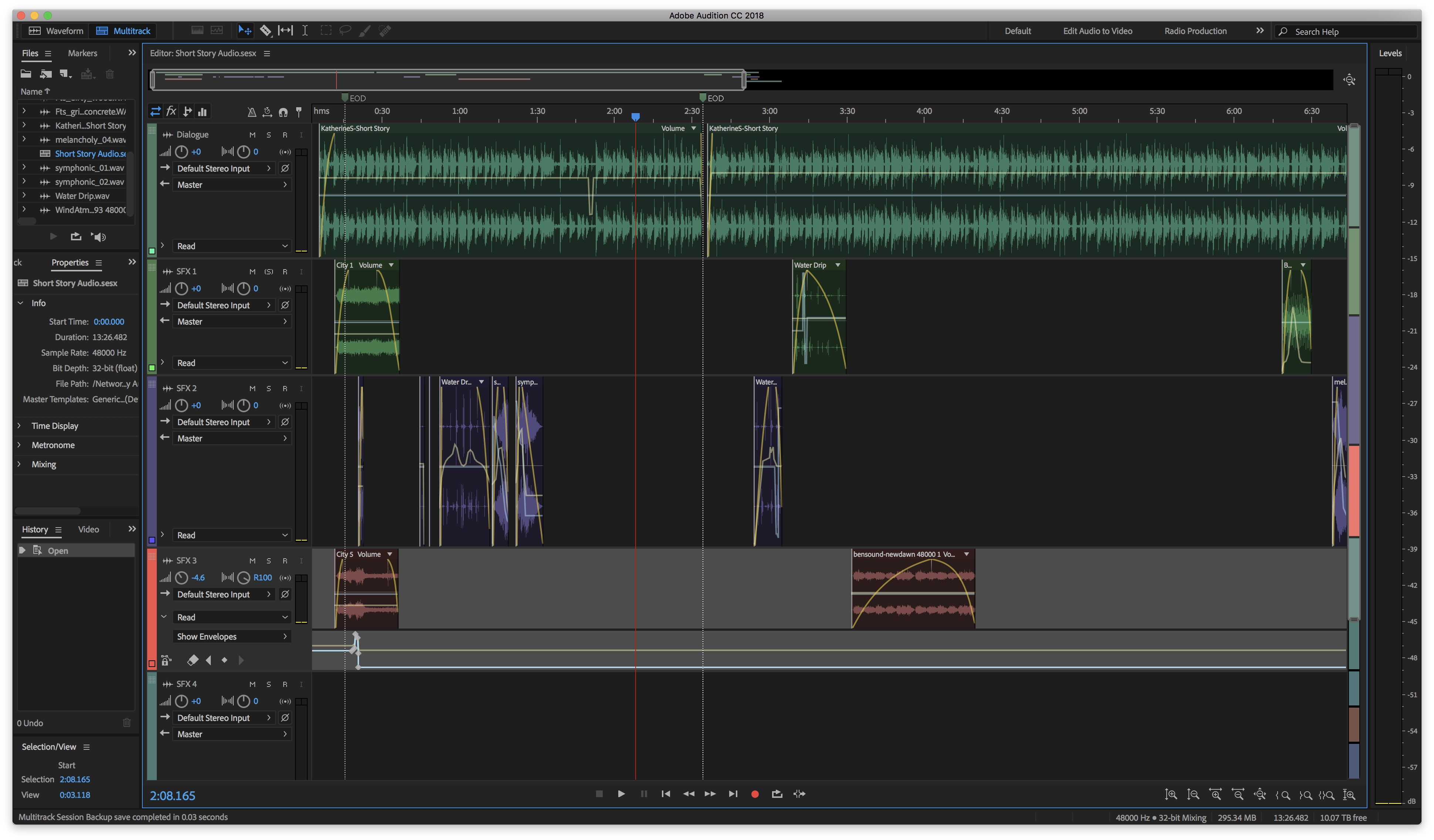 A screenshot of the interface on Adobe Audition, showing the behind the scenes process of creating the audiobook version of How To Be A Man by Katherine Sun