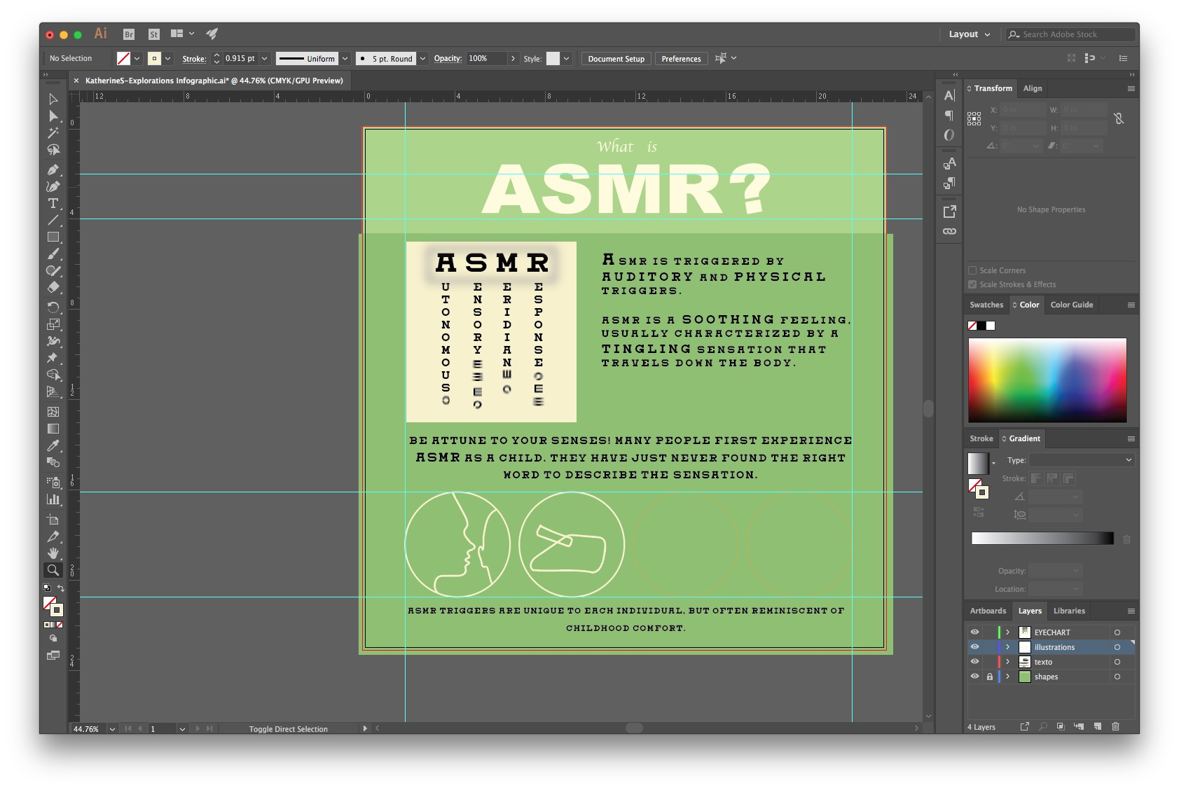 Screenshot of Adobe Illustrator Interface while creating an ASMR infographic