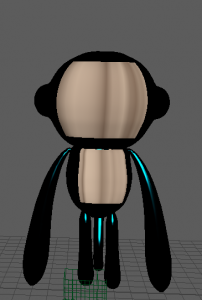 monkey in maya colored with wood and teal tinted chrome.