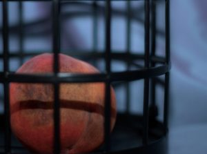 An orange peach with purple bruises sitting in a black cage with a blue background
