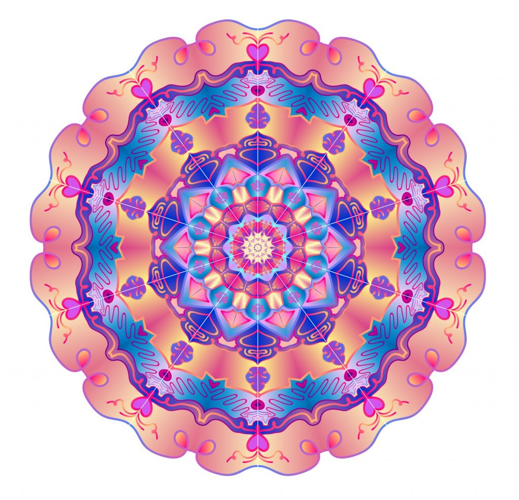 A blue and orangey pink mandala