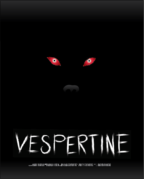an all black poster with red dog eyes and a faint nose over white scrawly text that reads Vespertine