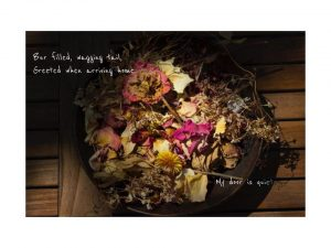 This is a photo of a wooden bowl full of dead flowers