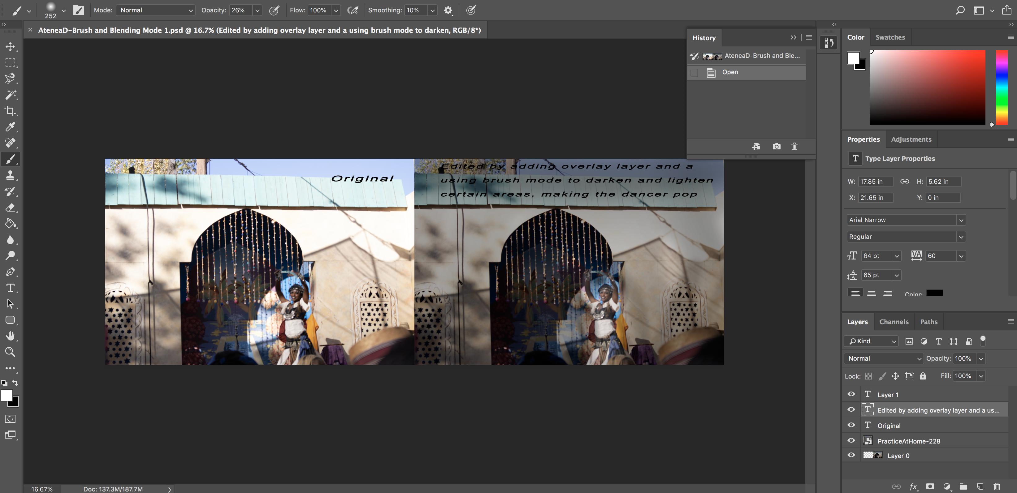 Screenshot of Blending using Overlay Brush Photo Photoshop Image