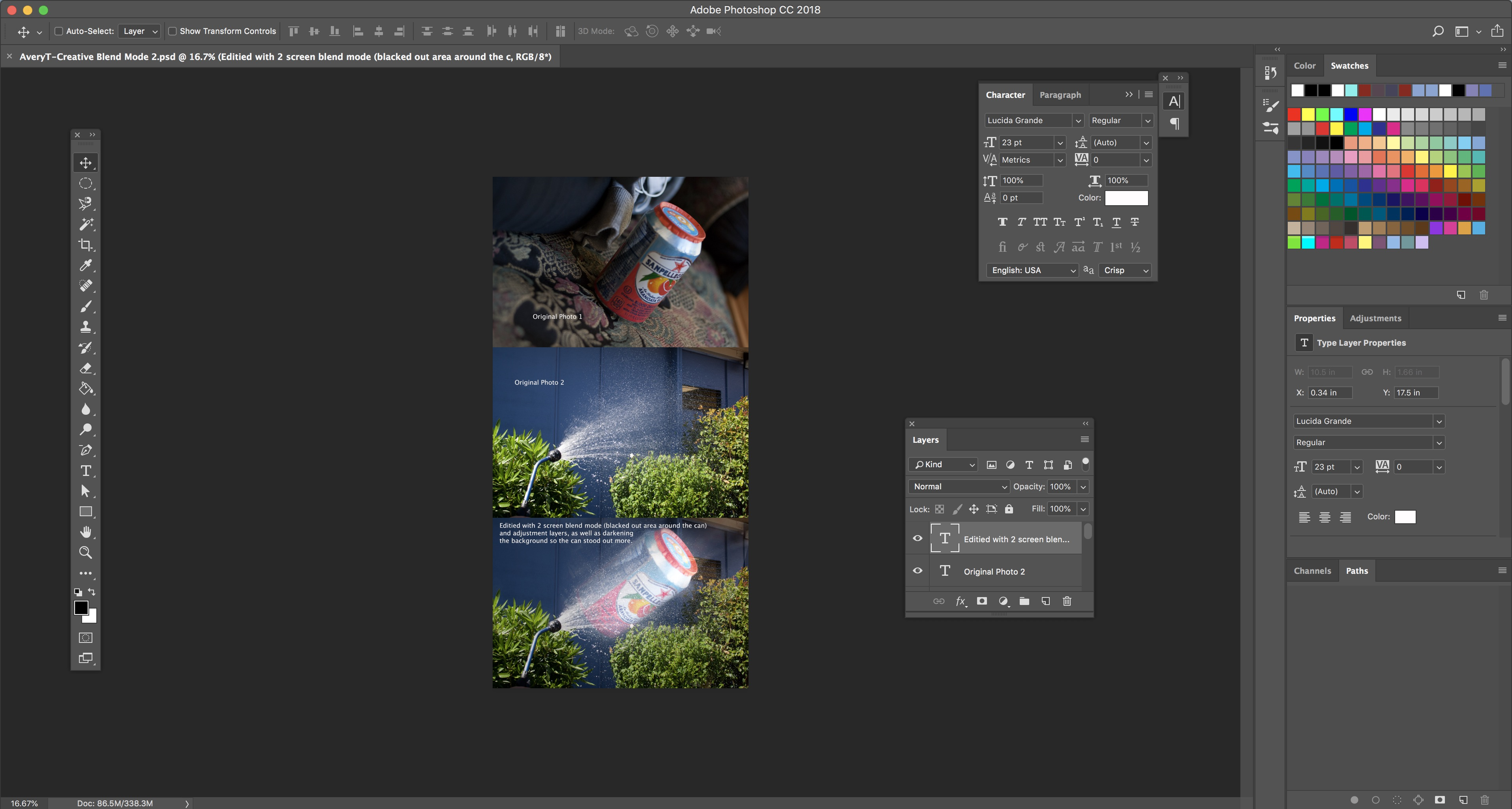 Adobe Photoshop Workspace for Creative Blend Modes