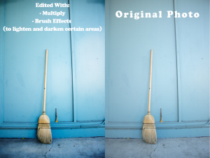 Photo of a broom that is darkened to bring out the details