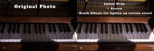 Photo of a piano that is lightened to bring out the details