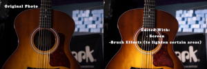 Photo of a guitar that is edited to highlight and shaded to bring out details