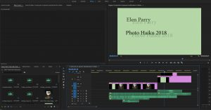 Screenshot of my project in the Premiere Pro interface. On the bottom right, there's the photos and audio files used in order