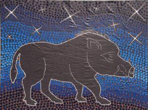 Aboriginal Line Art of a wild boar