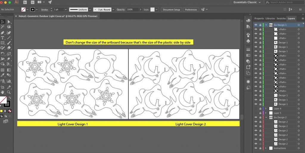This is the interface of Adobe Illustrator for my Geometric Light cover project