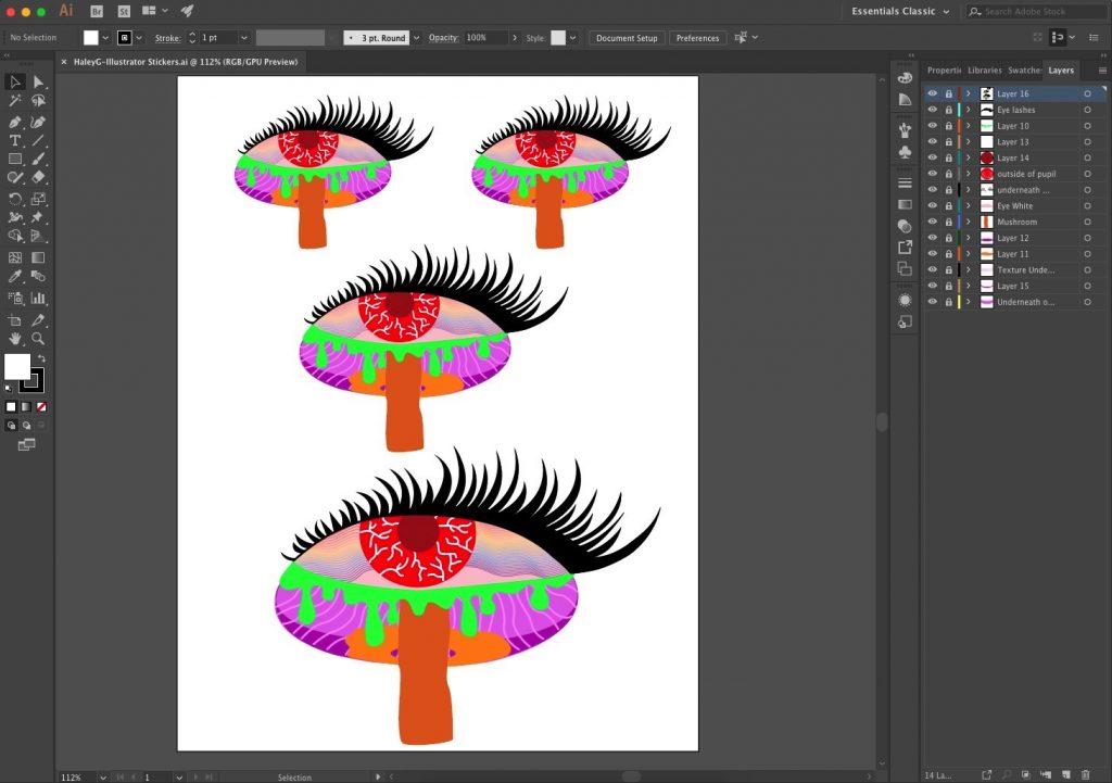 This is the interface of Adobe Illustrator for my sticker design