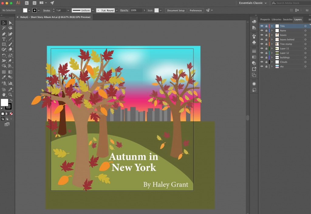 This is my Adobe Illustrator file for my album art that I created