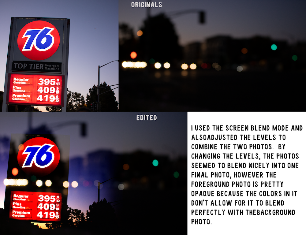 screen blend mode photo of gas station sign and street lights