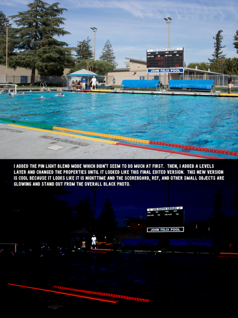 pin light blend mode with levels layer photo of a LAHS water polo game