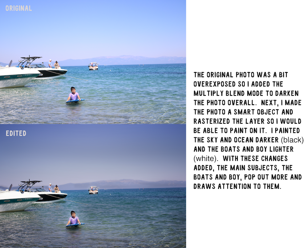 multiply blend mode photo of a boy playing in Lake Tahoe