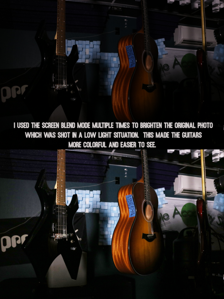 screen blend mode photo of guitars in the Freestyle Studio