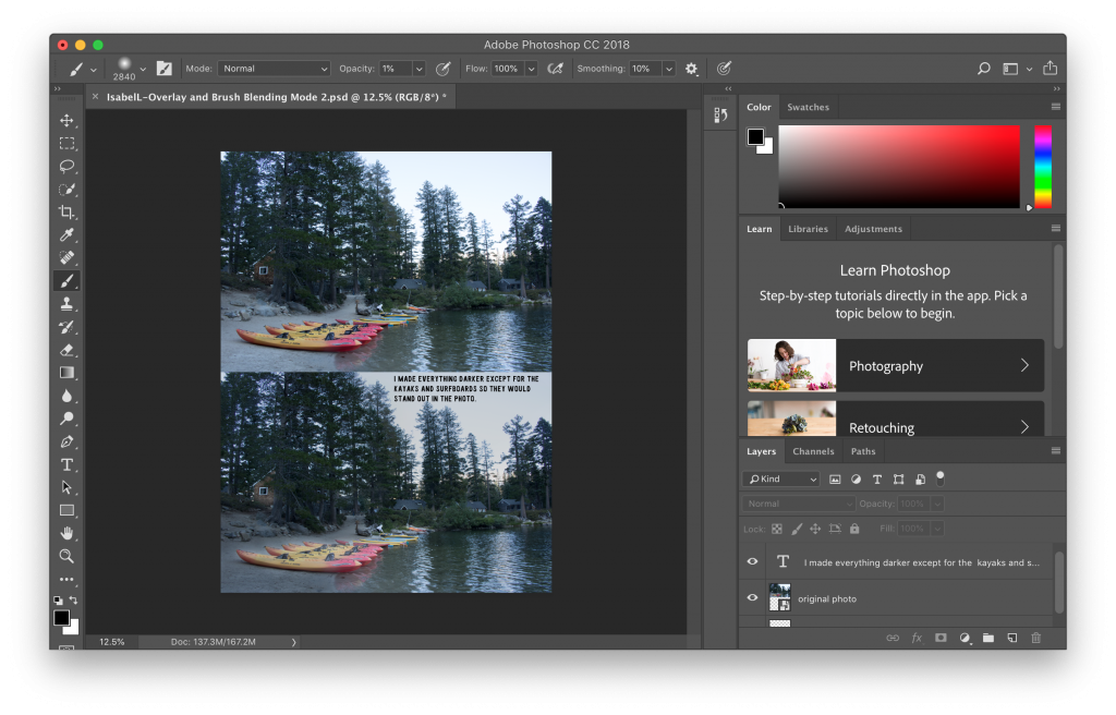 a screenshot of the behind the scenes work of creating the Blend Modes photos in Photoshop