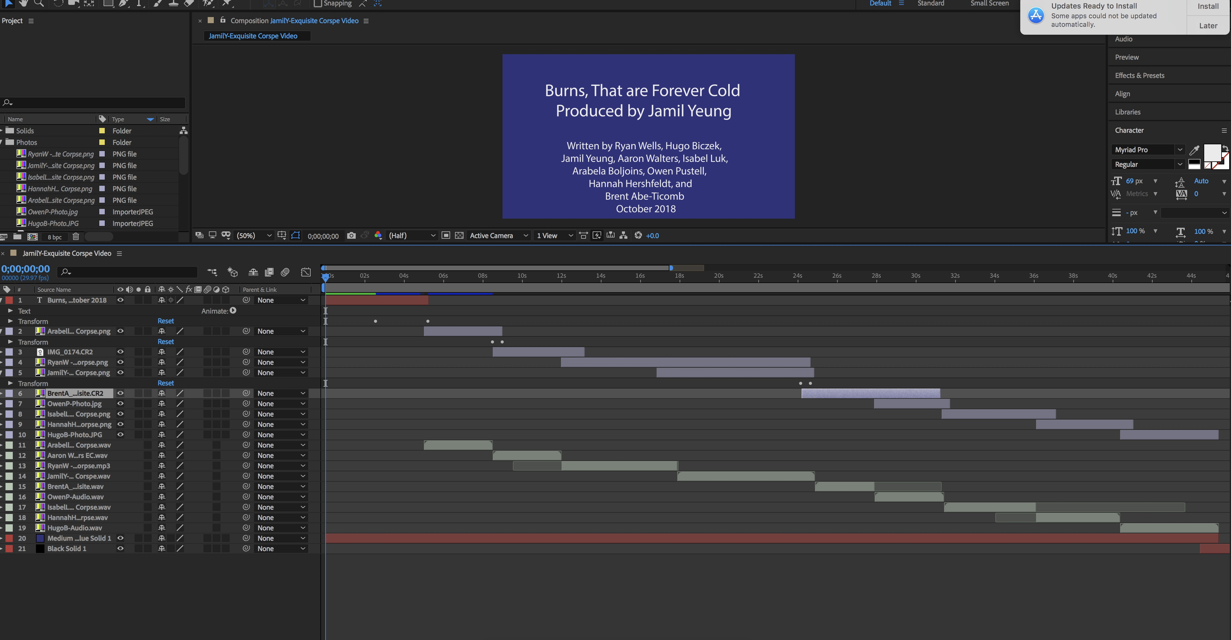 Production of the corpse poem in After Effects