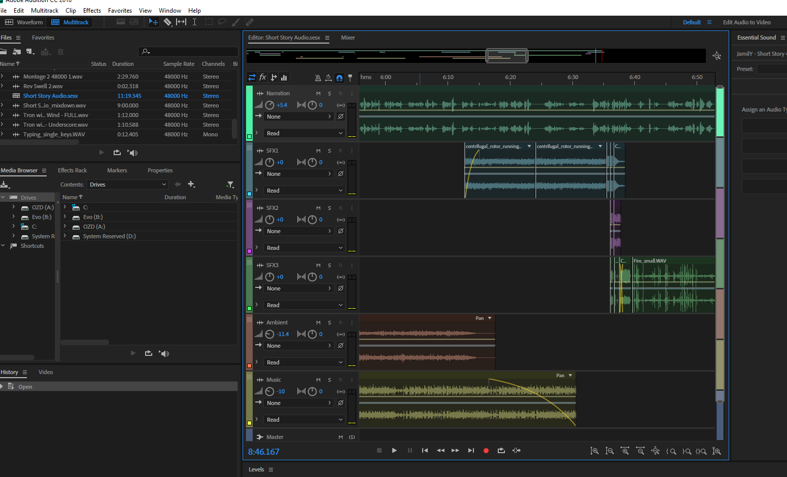 A graphical interface of adobe audition