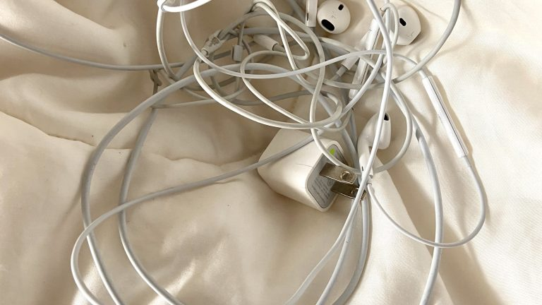 earbuds and phone chargers