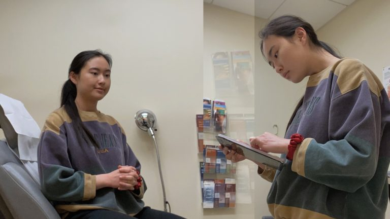 Capturing a scene from someone elses persepctive. Here a diptych of Katherine at the doctor's.