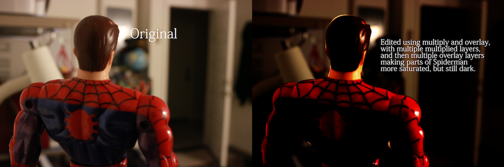 2 photos with a action figure of Spiderman. One photoshopped.