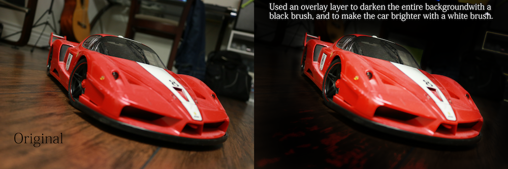 Photo of 2 same images of an RC Ferrari FXX Evolution. One photoshopped.