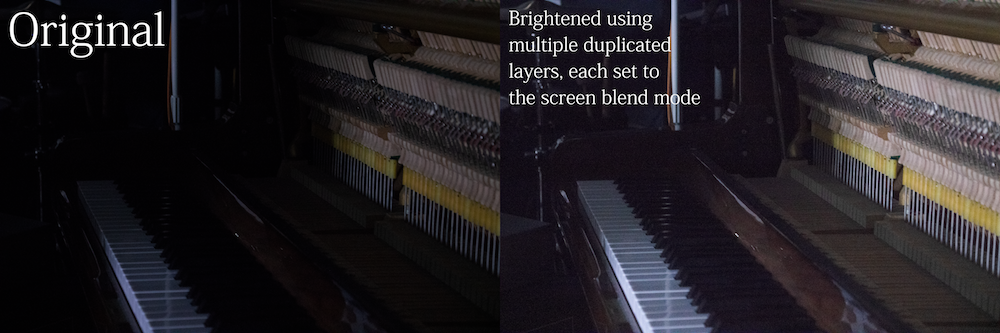Photo of 2 same images of a piano. One photoshopped.