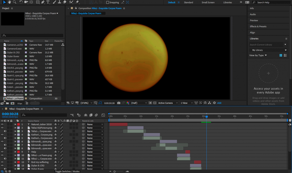 Screenshot of Adobe After Effects program, with edited content.