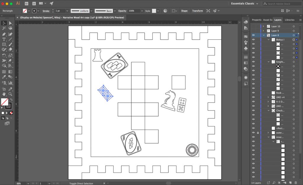 Image of wood art on the Illustrator interface.