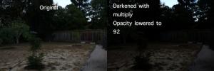 Wide Shot of Darkened Backyard