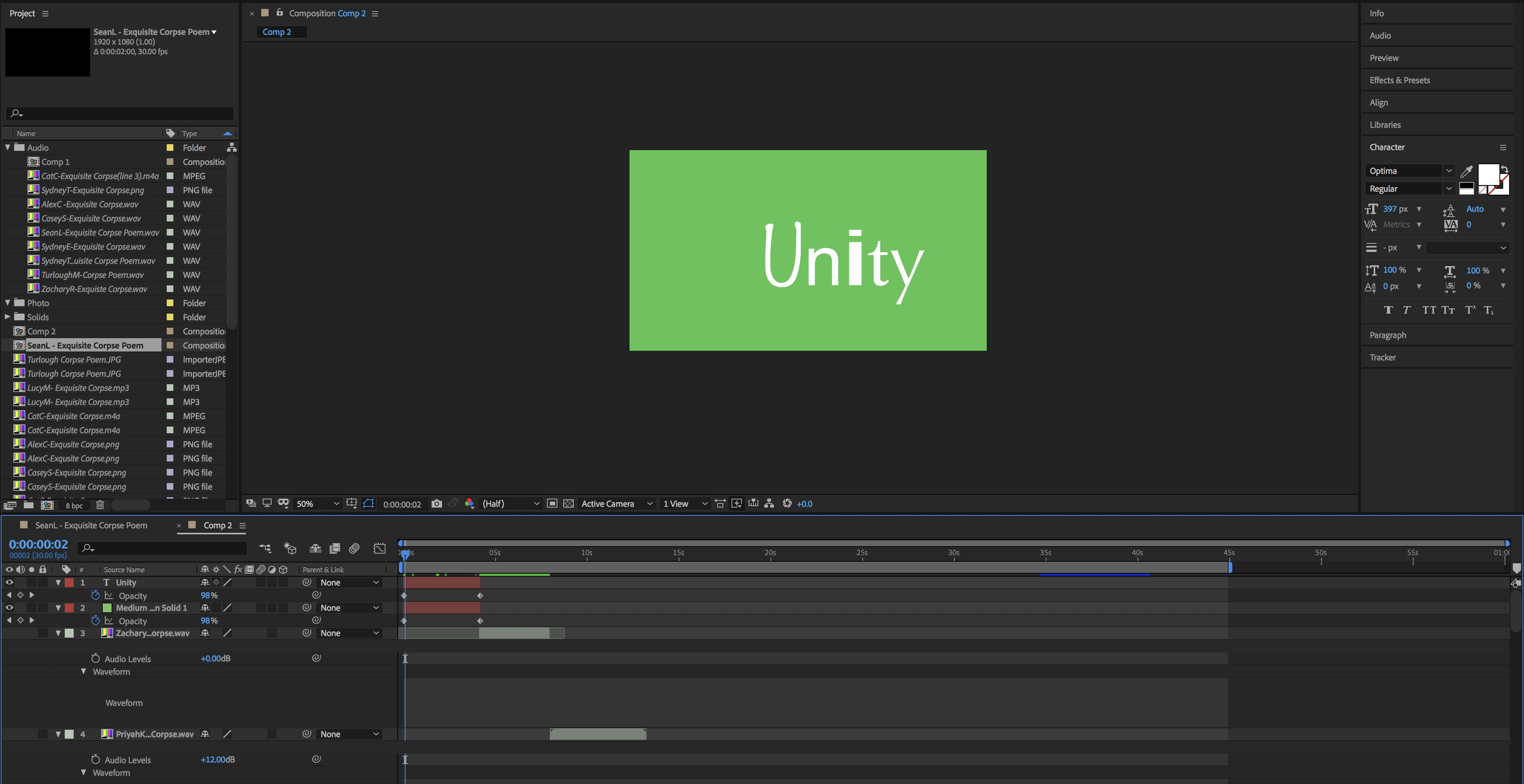 Screenshot of Using Adobe After Effects