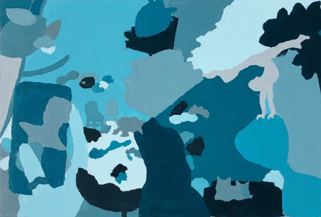 A painting of the previous collage I made using magazine cutouts, each shape a different shade of turquoise.