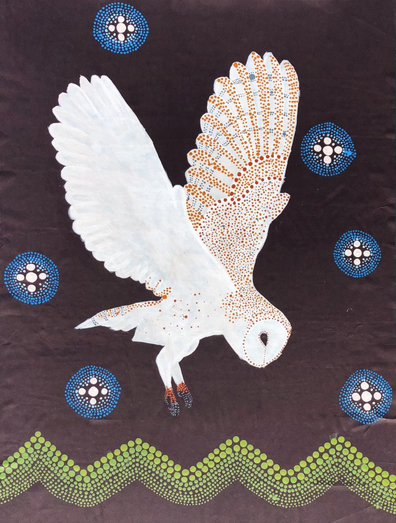 Aborigional painting of a barn owl surrounded by stars, flying over hills.