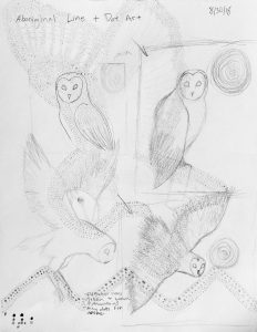 Photo of sketches of different poses of barn owl
