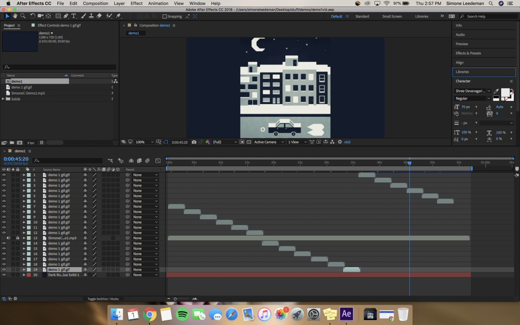 This is a screenshot of my Adobe After Effects interface when I put the demo video together.