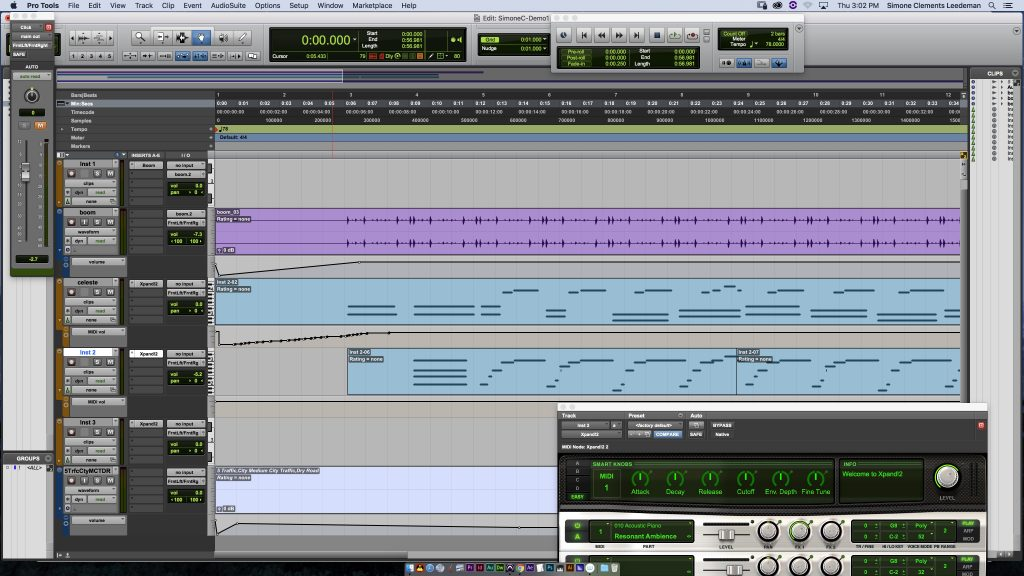 This is a screenshot of the Pro Tools interface when I created this demo.