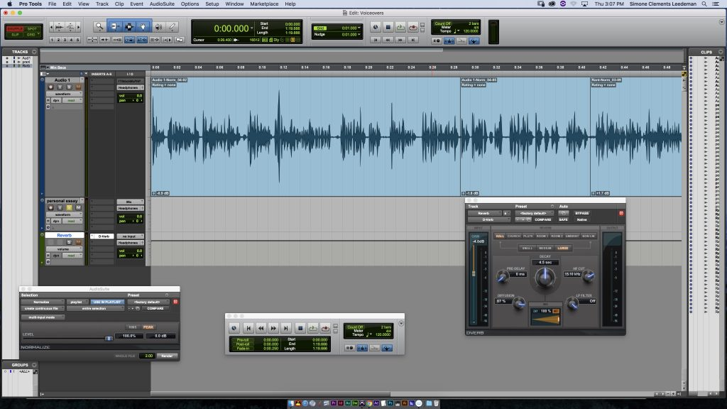 This is a screenshot of the Pro Tools interface when I recorded my Perspective Piece.