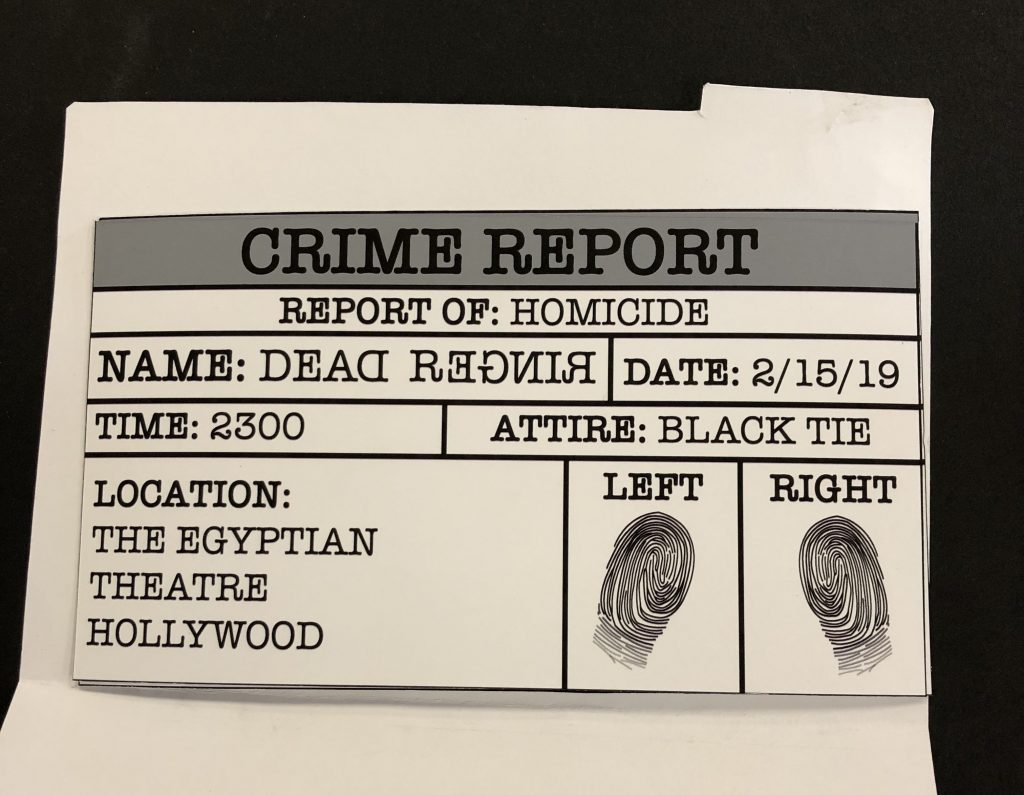 A photo of the final movie ticket, which is made to look like a case report, inside of the package.