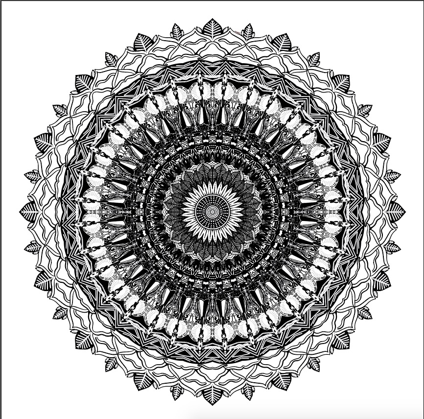 This is a photo of my black and white mandala