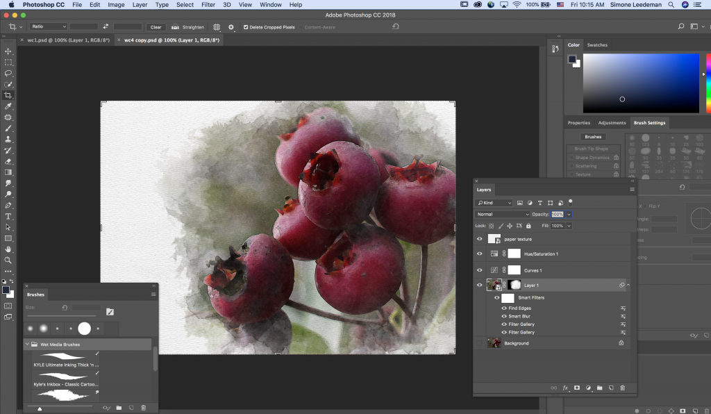 This is a screenshot of Adobe Photoshop while I was in the process of editing my photo with the watercolor effect.