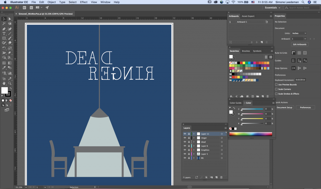 A screenshot of the Adobe Illustrator interface when I was in the process of creating the poster